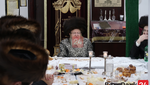 "Sanz Zmigrad Rebbe at The Yurtzeit Seudah of His Father The Sanz Zmigrad Rebbe Zt""l"