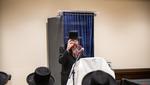 Toldos Yehuda Stitchin Rebbe giving a Derusha in the Kolel Emunas Yisroel in Preparation to Purim